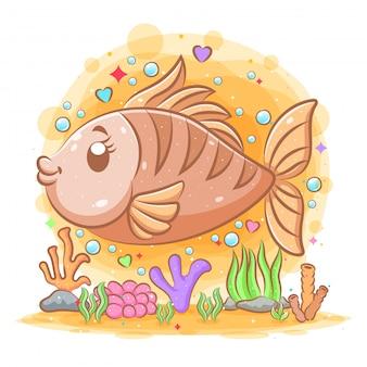 A ilustração do grande salmão marrom no fundo do mar