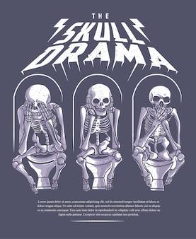 A ilustração do grunge do drama do crânio