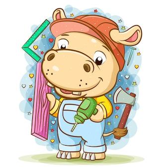 A ilustração do hipopótamo construtor segurando madeira com uma furadeira