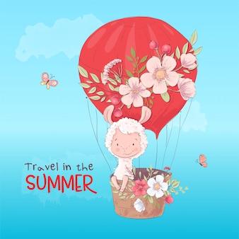 A ilustração do lama bonito voa em um balão. estilo dos desenhos animados. vetor