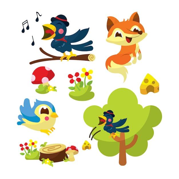 A ilustração do livro da história do corvo e da raposa