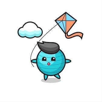 A ilustração do mascote da bola de exercícios está jogando pipa, design de estilo fofo para camiseta, adesivo, elemento de logotipo