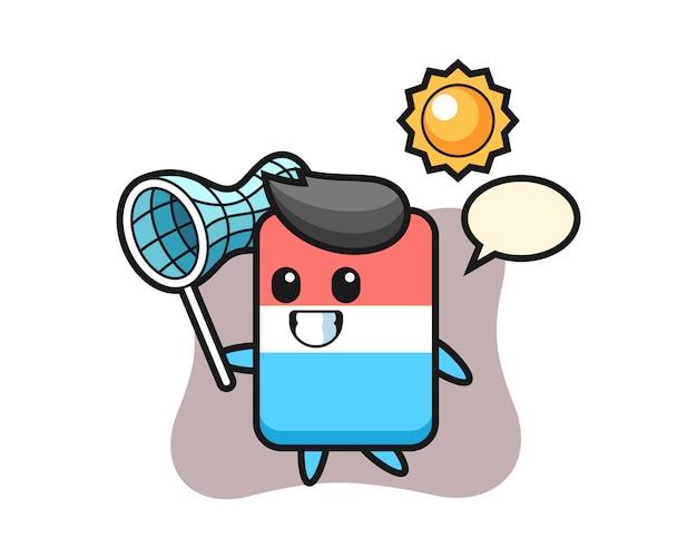 A ilustração do mascote da borracha está pegando uma borboleta, estilo fofo, adesivo, elemento de logotipo
