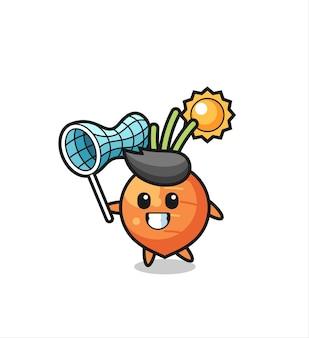 A ilustração do mascote da cenoura está pegando uma borboleta, design de estilo fofo para camiseta, adesivo, elemento de logotipo