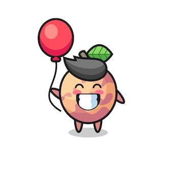 A ilustração do mascote da fruta pluot está jogando balão, design de estilo fofo para camiseta, adesivo, elemento de logotipo