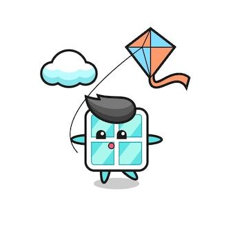 A ilustração do mascote da janela está jogando pipa, design de estilo fofo para camiseta, adesivo, elemento de logotipo