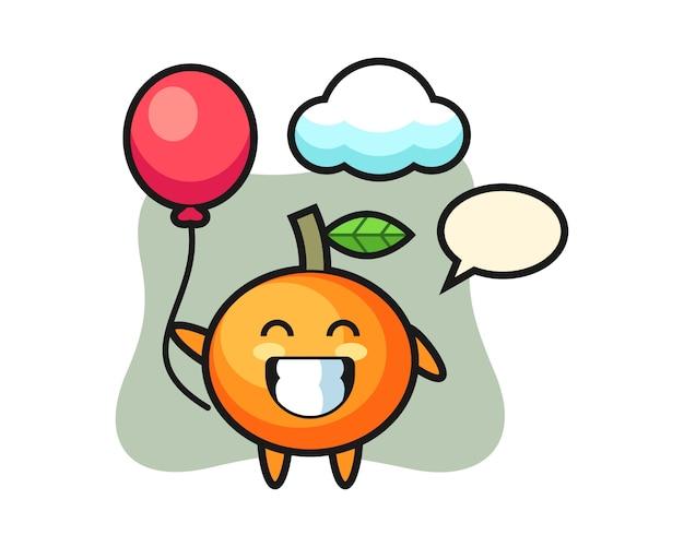 A ilustração do mascote da laranja mandarim está jogando balão, estilo fofo, adesivo, elemento de logotipo