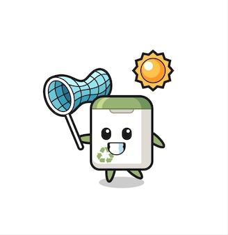A ilustração do mascote da lata de lixo está pegando uma borboleta, design de estilo fofo para camiseta, adesivo, elemento de logotipo