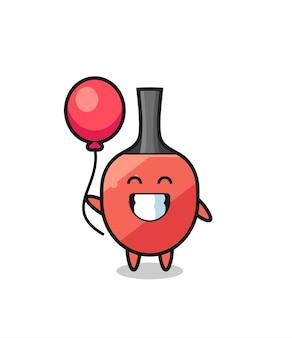 A ilustração do mascote da raquete de tênis de mesa está jogando balão, design de estilo fofo para camiseta, adesivo, elemento de logotipo Vetor Premium