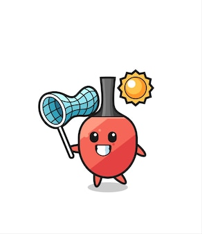 A ilustração do mascote da raquete de tênis de mesa está pegando uma borboleta, design de estilo fofo para camiseta, adesivo, elemento de logotipo