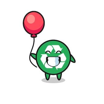 A ilustração do mascote da reciclagem está jogando um balão, design fofo