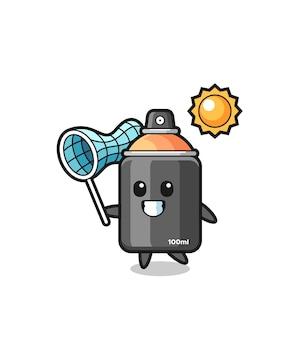 A ilustração do mascote da tinta spray está pegando uma borboleta, design de estilo fofo para camiseta, adesivo, elemento de logotipo