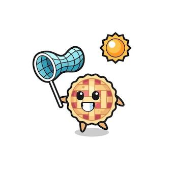 A ilustração do mascote da torta de maçã está pegando uma borboleta, design de estilo fofo para camiseta, adesivo, elemento de logotipo