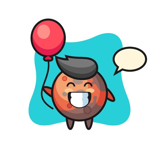 A ilustração do mascote de marte está jogando balão, design de estilo fofo para camiseta, adesivo, elemento de logotipo