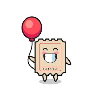 A ilustração do mascote do bilhete está jogando balão, design de estilo fofo para camiseta, adesivo, elemento de logotipo