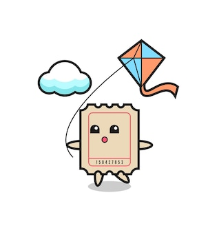 A ilustração do mascote do bilhete está jogando pipa, design de estilo fofo para camiseta, adesivo, elemento de logotipo
