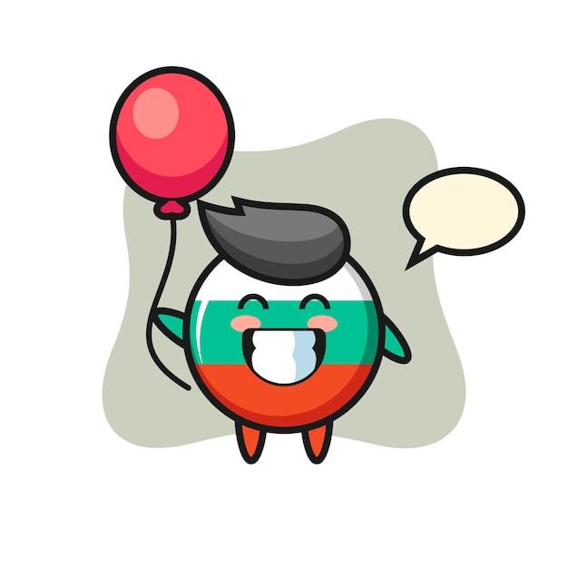 A ilustração do mascote do emblema da bandeira da bulgária está jogando balão, design de estilo fofo para camiseta, adesivo, elemento de logotipo