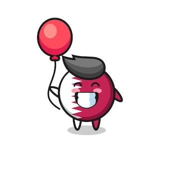 A ilustração do mascote do emblema da bandeira do qatar está jogando balão, design de estilo fofo para camiseta, adesivo, elemento de logotipo