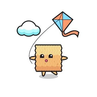 A ilustração do mascote do macarrão instantâneo cru está jogando pipa, design de estilo fofo para camiseta, adesivo, elemento de logotipo