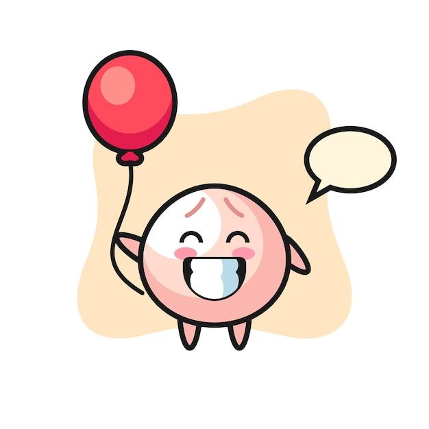 A ilustração do mascote do pão de carne está jogando balão, design de estilo fofo para camiseta, adesivo, elemento de logotipo