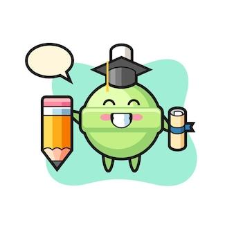 A ilustração do mascote do pirulito mostra a formatura com um lápis gigante