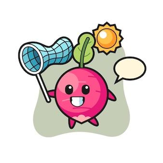 A ilustração do mascote do rabanete está pegando uma borboleta, design de estilo fofo para camiseta, adesivo, elemento de logotipo