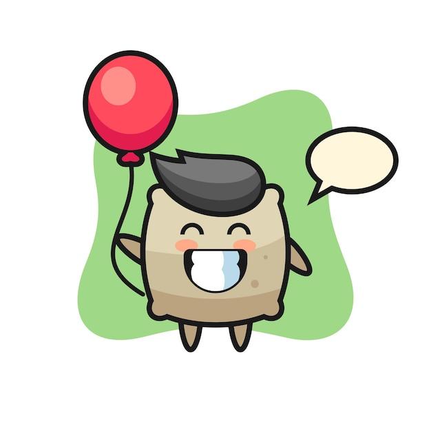 A ilustração do mascote do saco está jogando balão, design de estilo fofo para camiseta, adesivo, elemento de logotipo