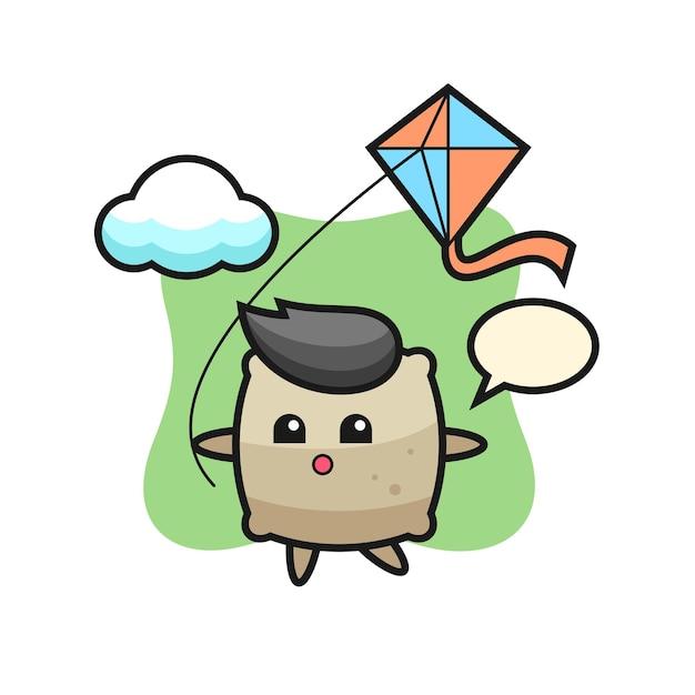 A ilustração do mascote do saco está jogando pipa, design de estilo fofo para camiseta, adesivo, elemento de logotipo