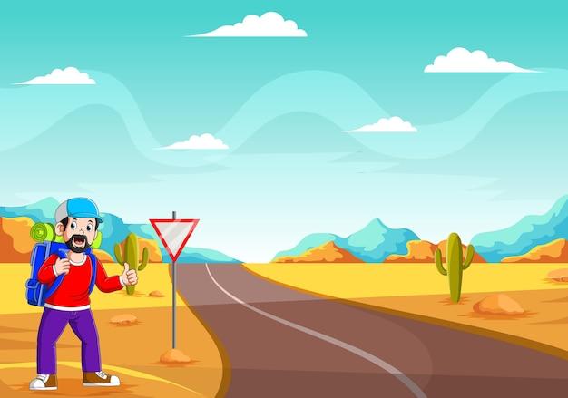 A ilustração do menino está parado perto da rua para parar o carro