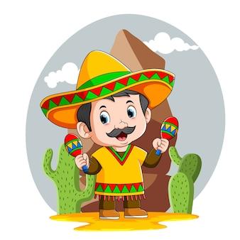 A ilustração do menino mexicano usa o chapéu sombrero amarelo