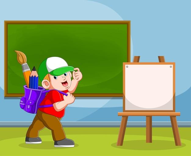 A ilustração do menino traz os materiais de arte em sua bolsa roxa