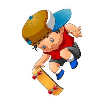 A ilustração do menino usando o pano vermelho e brincando de skate com o bem posado