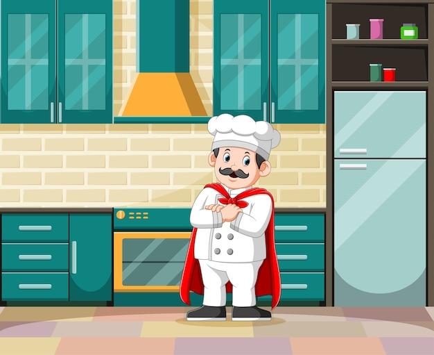 A ilustração do mestre da cozinha com seu traje branco na cozinha