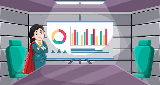 A ilustração do mestre do gerente da empresa na sala de reuniões