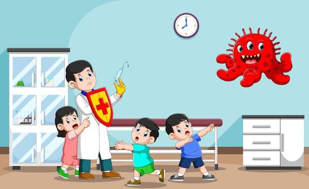 A ilustração do mestre do médico pela saúde das crianças no hospital