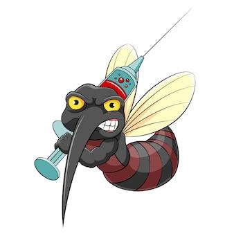A ilustração do mosquito segurando a injeção cheia de sangue do povo