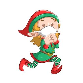 A ilustração do pequeno duende com a máscara branca está correndo