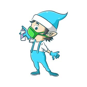 A ilustração do pequeno elfo está usando a máscara verde e segurando o spray desinfetante para proteger seu corpo