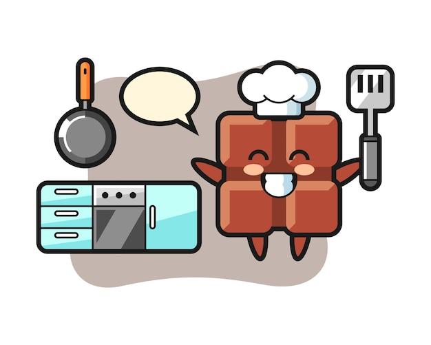 A ilustração do personagem da barra de chocolate enquanto um chef está cozinhando, no estilo fofo kawaii.