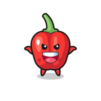 A ilustração do pimentão vermelho fofo fazendo um gesto de susto, design de estilo fofo para camiseta, adesivo, elemento de logotipo