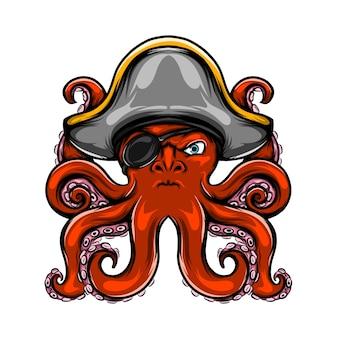 A ilustração do polvo pirata tem apenas um olho e sua cor é vermelha com muitos tentáculos