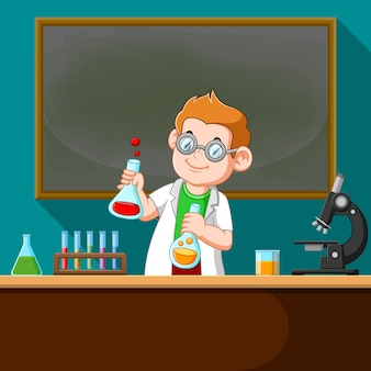 A ilustração do professor fazendo o experimento de química em laboratório