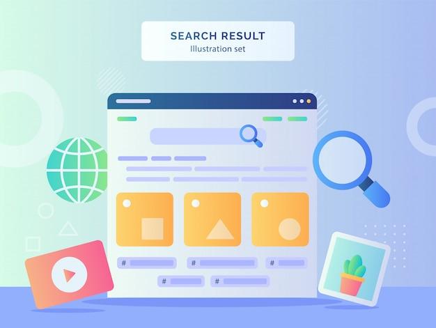 A ilustração do resultado da pesquisa define a interface do usuário no computador do monitor do globo de imagens de vídeo lupe com estilo simples