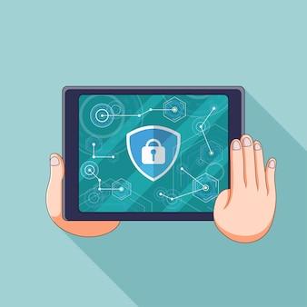 A ilustração do tablet com a tela de bloqueio com a privacidade
