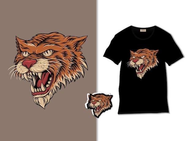A ilustração do tigre com o design da camiseta