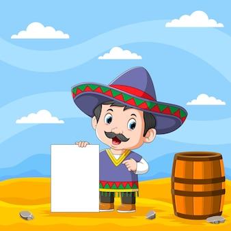 A ilustração do tio com a fantasia mexicana segurando a placa com a placa