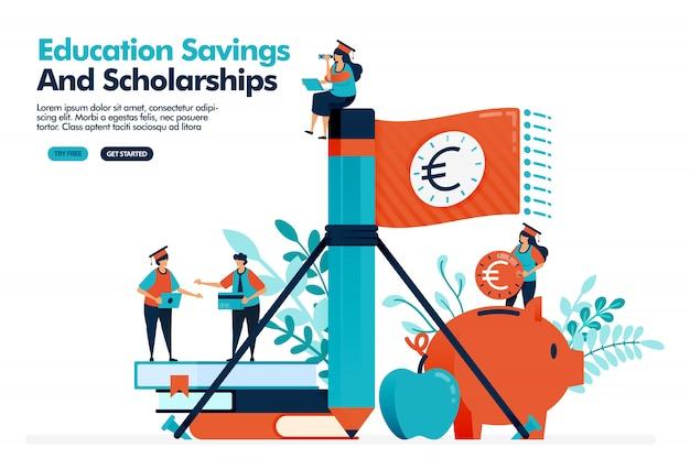 A ilustração do vetor das pessoas acena a bandeira do dinheiro com lápis. economizando dinheiro em um cofrinho para despesas educacionais. bolsa de estudos.