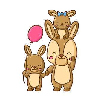 A ilustração dos coelhos fofos da família com a mãe e seus filhos brincando junto com os balões