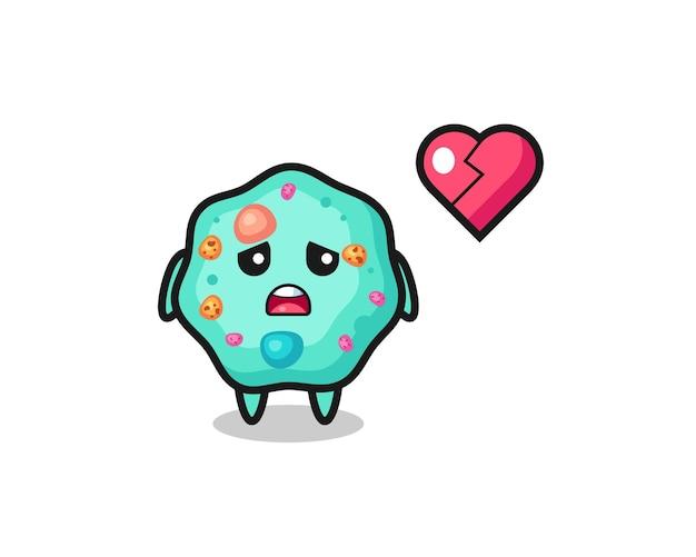 A ilustração dos desenhos animados da ameba é um coração partido, design de estilo fofo para camiseta, adesivo, elemento de logotipo