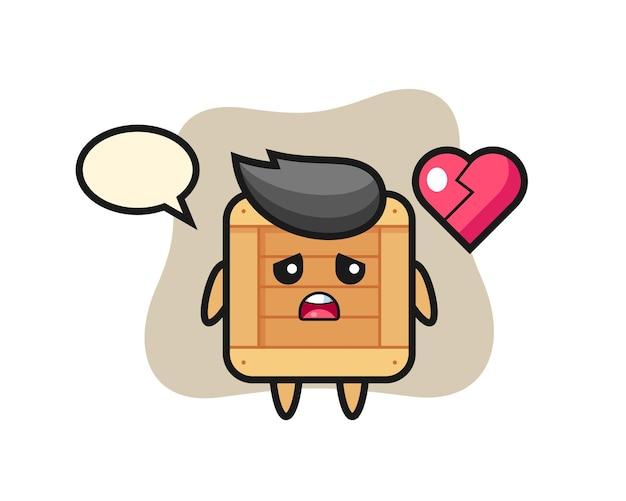 A ilustração dos desenhos animados da caixa de madeira é um coração partido, design de estilo fofo para camiseta, adesivo, elemento de logotipo